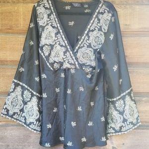 New York City Design Co Black Silk Tunic L
